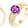 18K Gold Plated 3.00 CTTW Genuine Oval Shaped Amethyst Ring