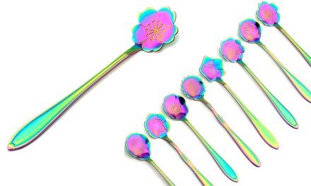 Set di 8 cucchiaini da tè floreali