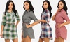 Juniors' Plaid Roll-Up Sleeve Button-Up Tunic Dress with Belt: Juniors' Plaid Roll-Up Sleeve Button-Up Tunic Dress with Belt