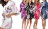Satijnen kimono met pauw- en bloemmotieven in maat en kleur naar keuze