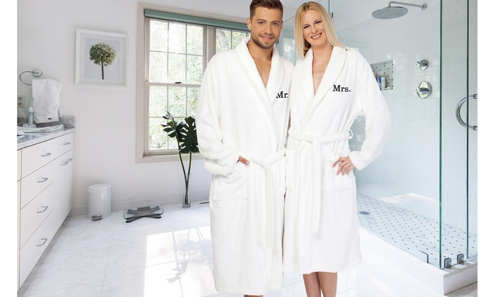 up to 57  off on turkish cotton mr  or mrs  robe