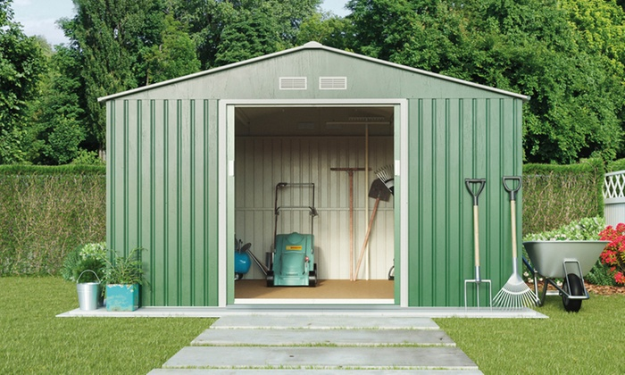 groupon goods global gmbh metal apex garden storage shed in choice of size and colour