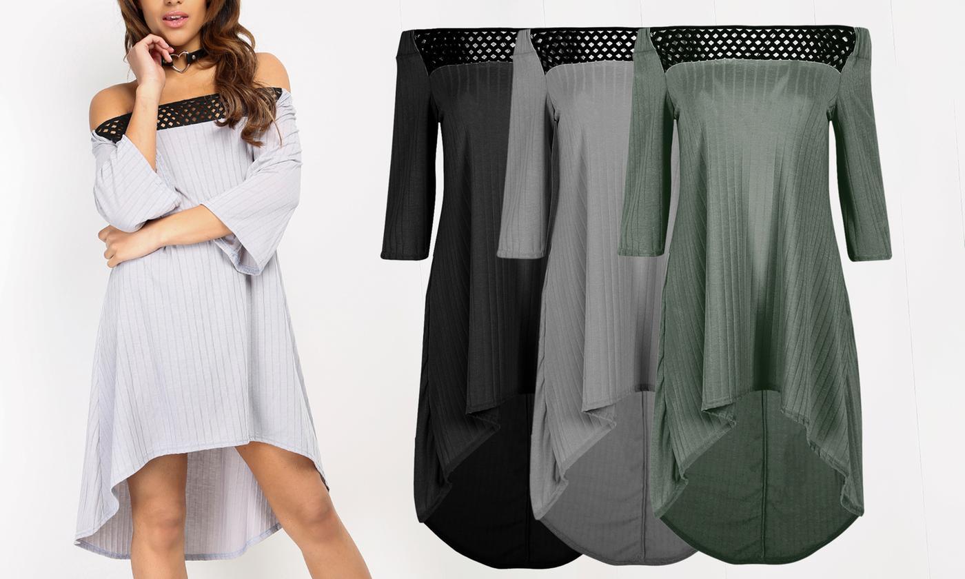 Oops Women's Off-Shoulder High-Low Midi Dress