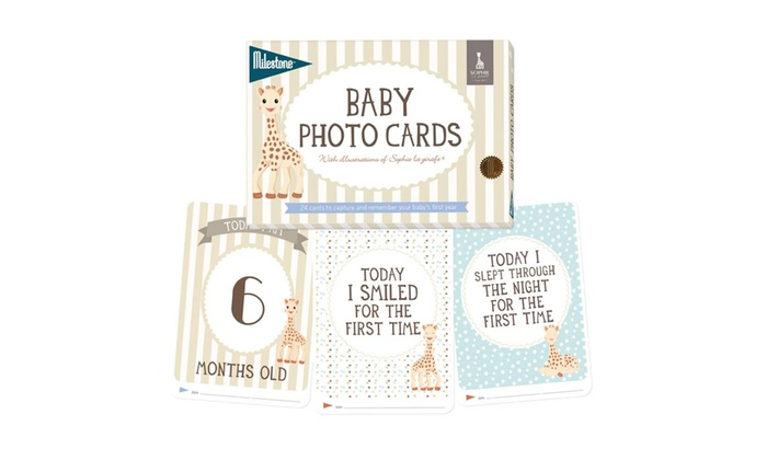 One, Two or Three Packs of Sophie La Girafe Milestone Baby Cards