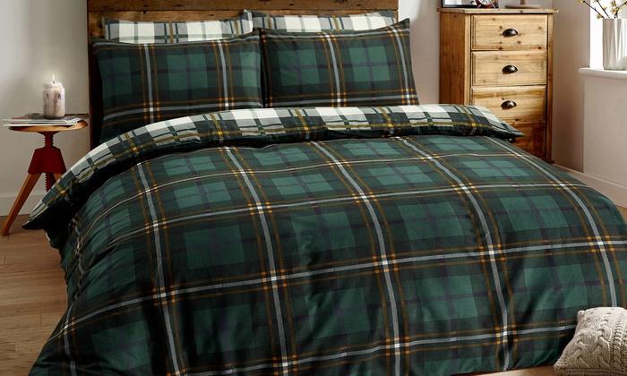 Sleepdown Brushed Cotton Tartan Check Duvet Set from £16