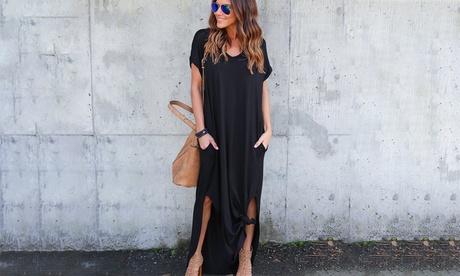 Vestido básico holgado con cuello en V para mujer