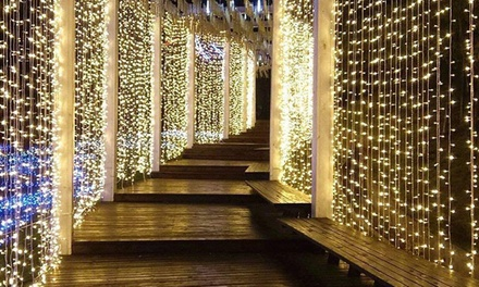 300-LED Warm White or Cool White 9.8' Curtain String Lights