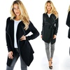 Women's Flyaway Belted Cardigan with Faux-Leather Trim