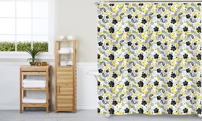 PEVA Kenzie Shower Curtain With 12 Hooks