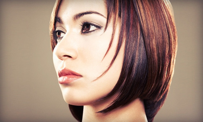Compliments at A Hilton Salon & Spa - North Mountain: Haircut with Style and Optional Partial Highlights or Full Color at Compliments at A Hilton Salon & Spa (Up to 61% Off)