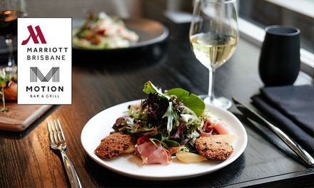 ThreeCourse Meal $69, + Wine or Beer $79 or 4 People $155 at Motion Dining at The Brisbane Marriott