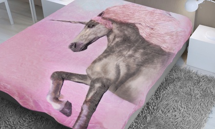 Dreamscene Unicorn Faux Mink Throw