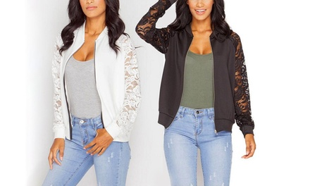 Women's Lace Sleeve Bomber Jacket: One $15 or Two $25