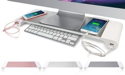 Schreibtisch-Organiser aus Aluminium für Apple Geräte in der Farbe nach Wahl, optional mit Maus und Kabel (Berlin)