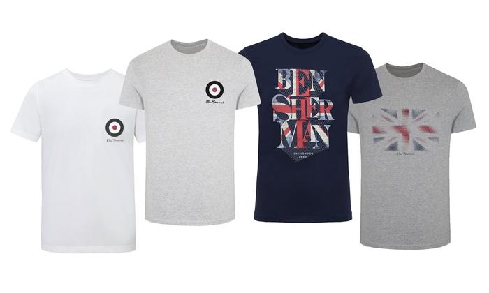 Ben Sherman Mens Large Logo Print Tshirt L White