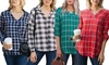 Reflection Women's Long Sleeve Plaid Top. Plus Sizes Available.