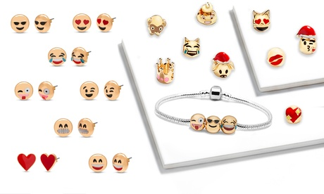 1, 2 o 3 sets emoji con 1 pulsera, 12 charms y 8 pares de pendientes
