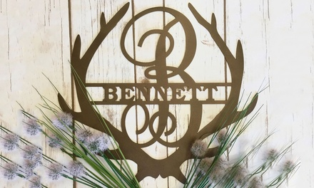 "One or Two 11.5"" Personalized Family Name Antler Signs from Metal Unlimited (Up to 51% Off)"