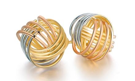 Tri-Tone Knot Stud Earrings in 18K Gold