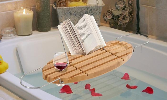 Extendable Bamboo Bathtub Racks | Groupon