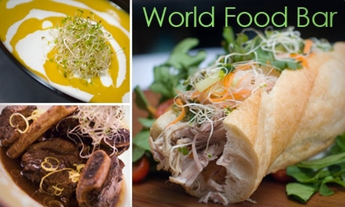 Mayberry and World Food Bar - Multiple Locations: $7 for $15 Worth of Delicious Dishes and Drinks at Mayberry or World Food Bar