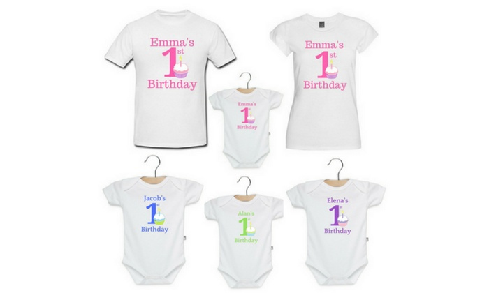 Personalized Babys First Birthday Bodysuits Or T Shirts From Cay Boutique Up To 36 Off Six Options
