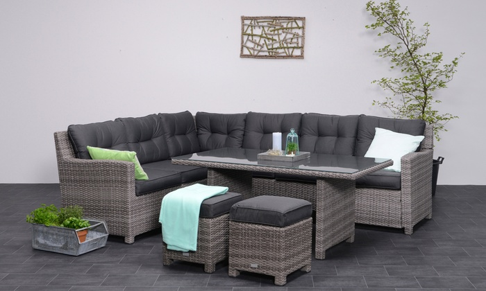 Gardening Impressions Bluebird Five-Piece Rattan-Effect Corner Dining Sofa Set (£949.99)