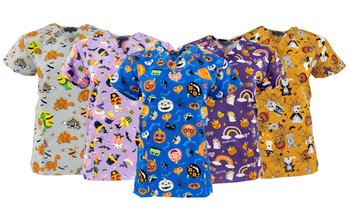Women's Halloween-Themed Medical Scrub Tops. Plus Sizes Available