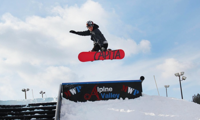 Alpine Valley - White Lake: $29 for an All-Day and Evening Lift Ticket at Alpine Valley ($50 Value)