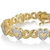 14K Gold Plated Diamond Accent Heart Bracelet by Brilliant Diamond