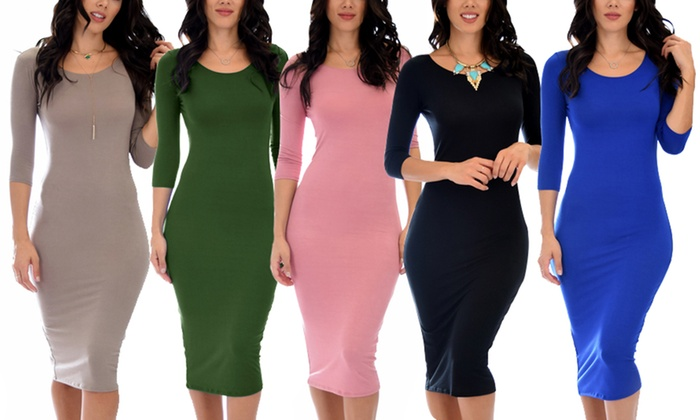 86b1aecc2b86 Lyss Loo True 2 You Women's 3/4 Sleeve Midi Dress | Groupon