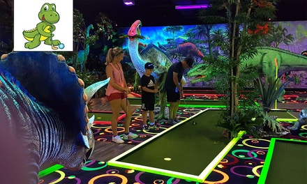 18 Holes of Glow-In-The-Dark Mini Golf: Child ($9), Adult ($12) or Family Pass 2 + 2 ($42) at Chillisaurus Mini Golf