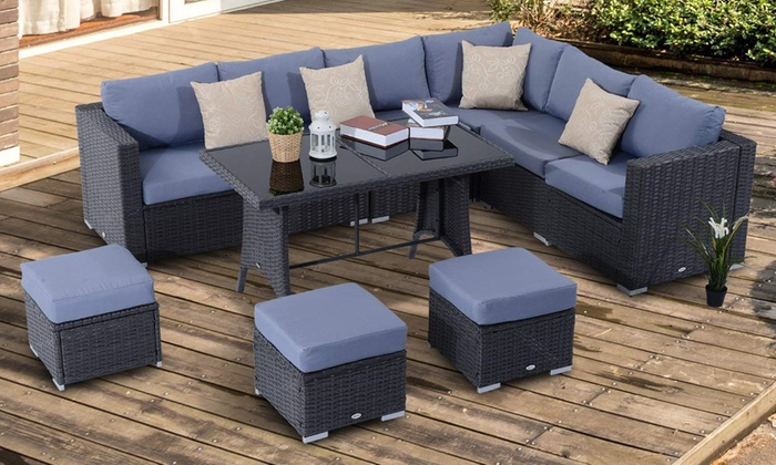 Outsunny Ten-Piece Rattan-Effect Garden Dining Sofa Set