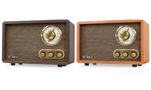 Victrola Retro Wood Bluetooth FM/AM Radio Speaker with Rotary Dial