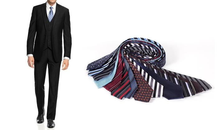 Braveman Big and Tall Slim-Fit 3-Piece Suit with Free Tie  (Sizes 48Lx42W & 54Lx48W)