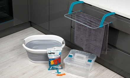 Beldray Laundry Set with Airer, Storage Caddy, Collapsible Basket and 100 Pegs