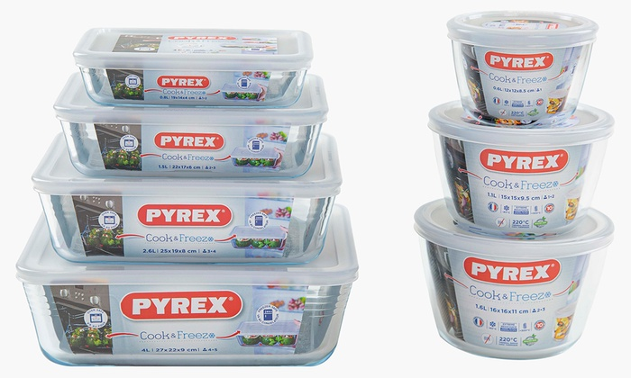 6-, 8- or 14-Piece Pyrex Glass Container Set