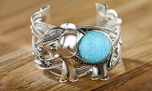 Howlite Turquoise Elephant Tusk Cuff Bangle by Peermont