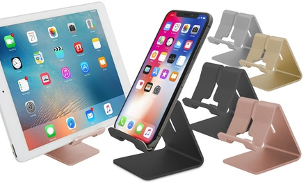 Aluminium Smartphone and Tablet Angled Stand in Rose Gold, Gold, Black or Silver.