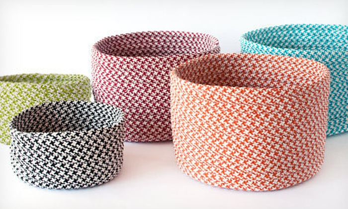 Braided Houndstooth Storage Baskets: Indoor/Outdoor Braided Houndstooth Storage Baskets (Up to 70% Off). Multiple Options and Colors Available.
