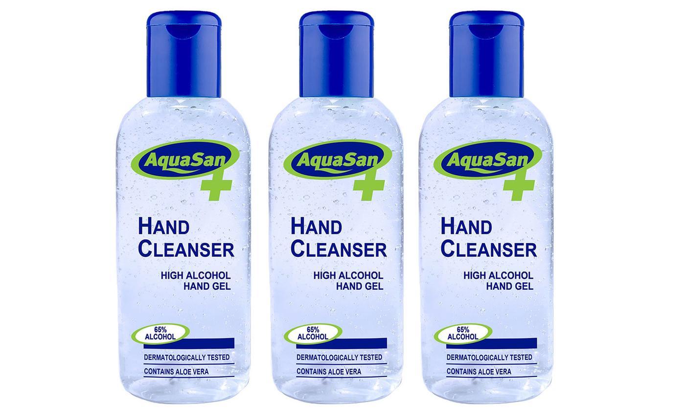 Three- or Six-Pack Malibu Aquasan Hand Sanitiser Gel 100ml or 200ml