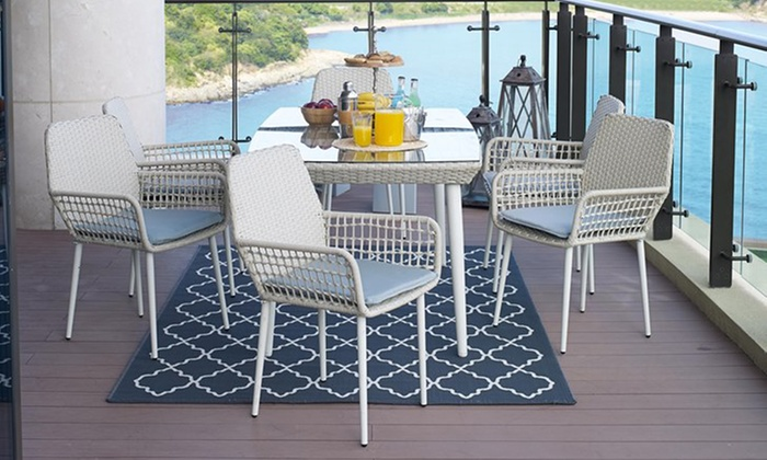 Rattan-Effect Seven-Piece Modern Dining Set with Optional Cover
