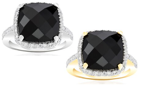 4.00 CTW Black Onyx Ring with Diamond Accent