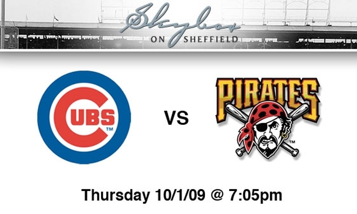 Skybox on Sheffield - Multiple Locations: $65 Cubs Rooftop Tickets, All You Can Eat and Drink. Buy Here for Cubs vs. Pirates, 10/1, 7:05 p.m. See Below for Other Games.