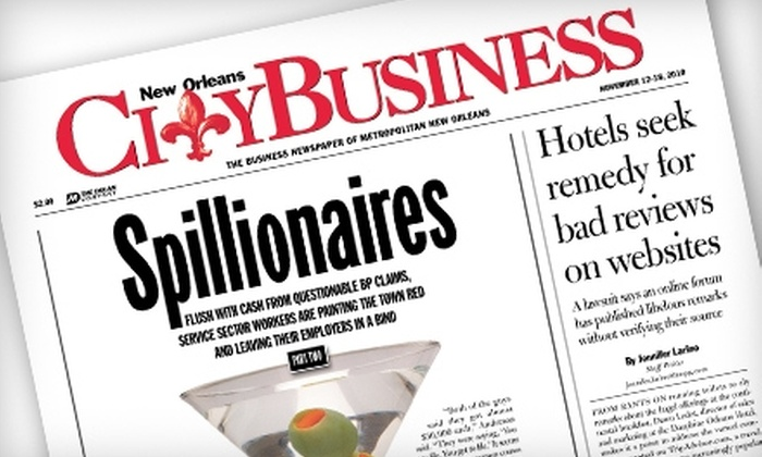 """""""New Orleans CityBusiness"""": Subscription to """"New Orleans CityBusiness."""" Two Options Available."""