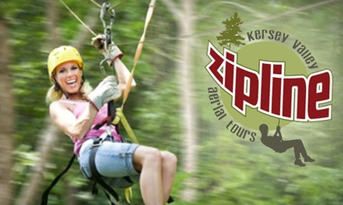 Kersey Valley Zipline Aerial Tours - Jamestown: $42 for Coach Class Tour at Kersey Valley Zipline in High Point ($89 Value)