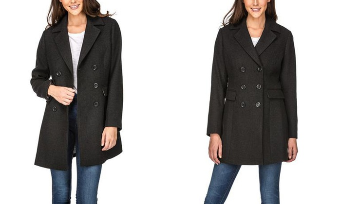 13600742059 Haute Edition Women s Double-Breasted Wool-Blend Peacoat