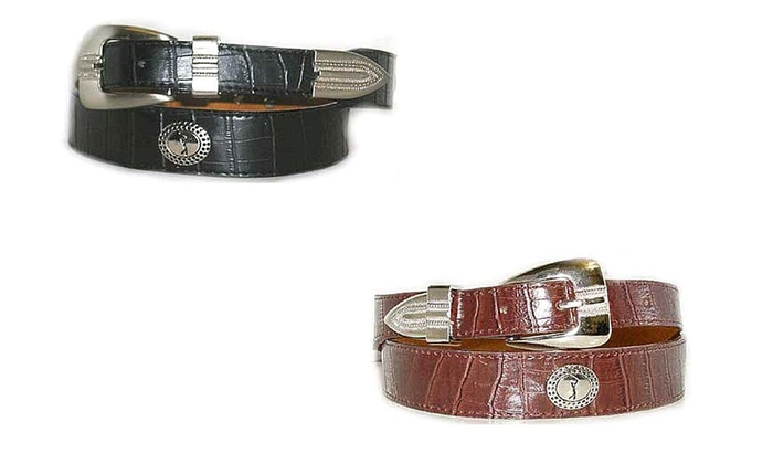Crocodile-Embossed Leather Belt with Golfer Concho (2-Pack)