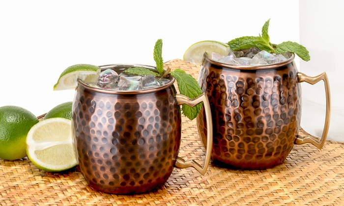set of 2 antique hammered solid copper moscow mule mugs set of 2 antique hammered