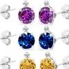 2.03 CTW Genuine Gemstone and Diamond Accent Studs in Sterling Silver